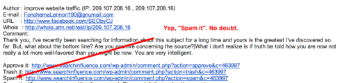 Screen capture of Annoying WordPress Comment Spam