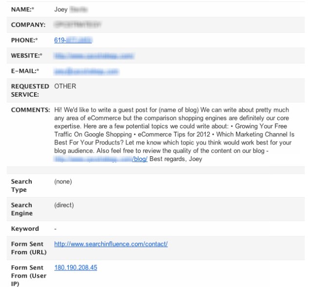 Image of email solicitation for Guest Blog Outreach