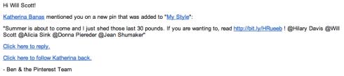 Screenshot of Pinterest Spam