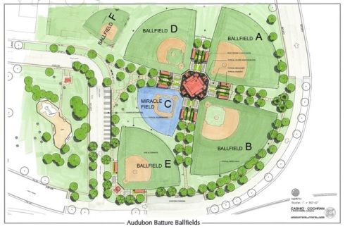 Audubon Park Baseball Fields Map